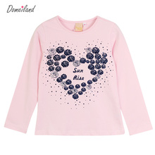 2017 New Fashion brand domeiland cute Baby Girl Clothes Long Sleeve Rhinestone Cute kids love T-Shirts Basic Cotton clothing