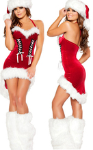 2017 HOT Sexy Women Santa Christmas Sequins Costume Hollow Dress with Christmas Hat Leg warmers Sexy Stocking Size Free(China)