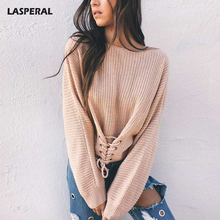 LASPERAL 2017 New Autumn Oversize Lace Up Sweaters Pullovers Women Winter Bandage Solid Knitted Basic Sweater Feminine Outwear