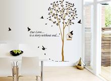 AY9055 Free Shipping Removable Vinyl Wall Sticker Tree and Bird Home Decoration Giant Wall Decals(China)