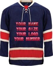 Custom Hockey Jerseys OEM Replica Mens Vintage Jersey Blue White XXS-6XL Free Shipping New York USA