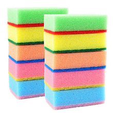 10PCS Household Cleaning Sponges Scouring Pads Cleaner Colorful Magic Sponge Eraser Kitchen Toilet Cleaning Sponges 7x2.8x10CM(China)
