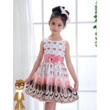2017 New Summer Baby Girls Printed Dress Casual Style Designer Bow Children Dresses Kids Clothes 2 Color YY1615