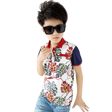 The child KID boys T-shirt in cotton children's wear polo shirts summer T-shirt Lapel leaves children(China)