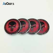 Auqoor.s  Cool punisher Car Steering tire Wheel Center car sticker Hub Cap Emblem Badge Decals Symbol For Honda VW Audi Nissan