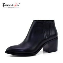 Donna-in women leather boot genuine calf leather ladies shoes pointed toe thick high heel ankle boots classic chelsea booties