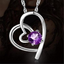 Choker Necklace White Purple Crystals Heart Love Necklaces & Pendants for Women Fashion Jewelry Birthday Best Friends Gifts 2017