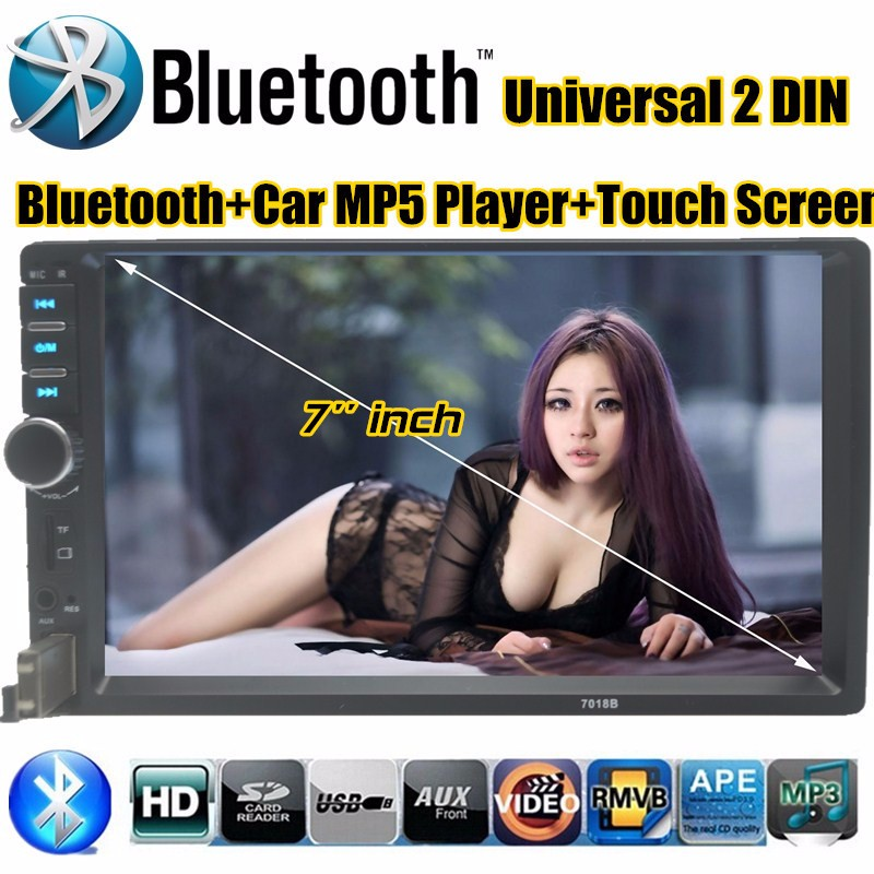 2015 NEW 7'' inch HD LCD Touch Screen Car Radio Player BLUETOOTH Hands Free 1080P Movie Support Rear View Camera USB/TF Card(China)