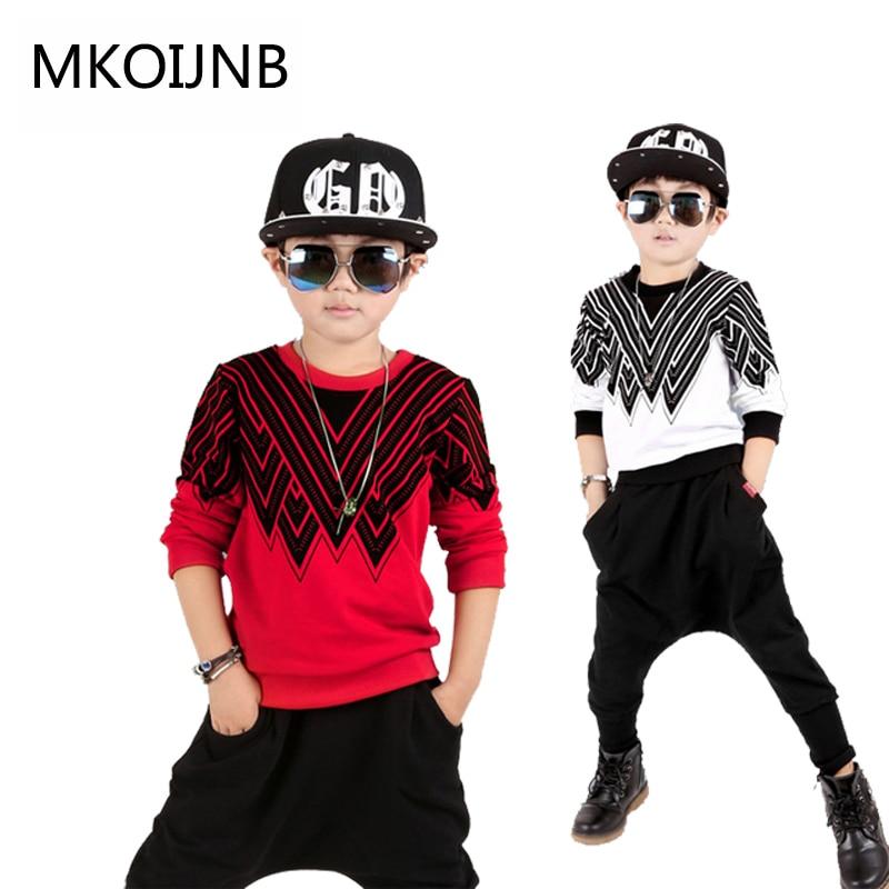 Big Boy Striped 2pcs / set Kids Autumn Cotton School Tracksuit Uniform Sport Red White Suit children Clothing Sets 4-12 years<br>