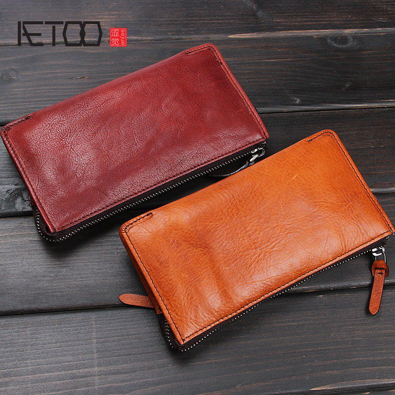 AETOO Vintage handmade leather vertical wallet men and women rivets multi-purpose wallet leather purse Vintage <br>