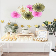7pcs/set Colorful Handcraft Paper Fans Wedding Favors Folding Fan Flower Home Shower Backdrop Decor Birthday Party Supplier(China)