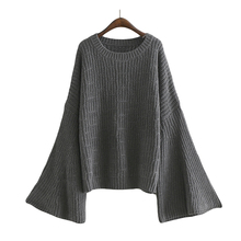 [AZURE SHEN] Winter Loose Sweater For Women 2017 Autumn Casual Flare Sleeve Solid Color Pullover Lady's Sweater Top K128502(China)