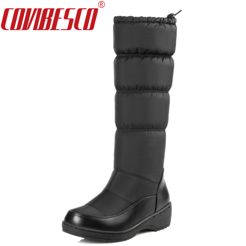 COVIBESCO New Elastic Band Fashion Russia Keep Warm Snow Boots Round Toe Platform Knee High Boots Winter Shoes Women Boots<br>