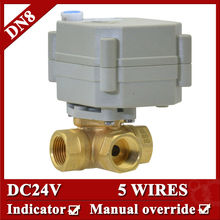 DN8 electric valve DC24V 3 way BSP/NPT thread electric actuator , electric valve 3 wires in brass material for washing machine(China)