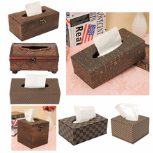 Classical Wooden PU Leather Tissue Paper Box Case Cover Napkin Holder For Home Car Office Accessories