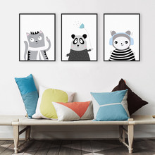Triptych Kawaii Animal Panda Cat A4 Art Print Poster Modern Nordic Nursery Wall Picture Kids Room Decor Canvas Painting No Frame(China)