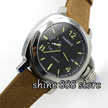 Parnis 44mm black dial sapphire glass 21 jewels MIYOTA Automatic mechanical men's watch(China)