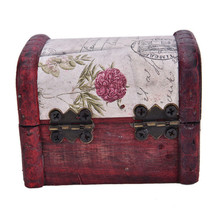 Wooden Box 1Pcs Hot Sale Chic Vintage Metal Lock Mini Stamp Jewelry Treasure Chest Case