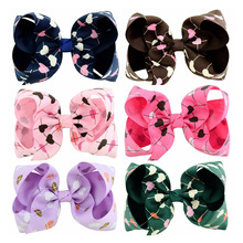 6Pcs/lot Beauty 4 Inch Love/peach heart Flower pattern Hair bows With solid Grosgrain Ribbon bowknot hairpin Accessories 777