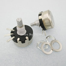2PCS/LOT WX110(010) 100R 100 Ohm 3 Soldering Terminals 6mm Round Metal Shaft Single Turn Wire Wound Potentiometer(China)