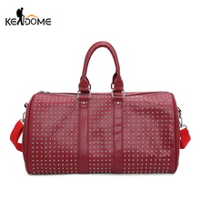 Men PU Leather Waterproof Shoulder Bags Women Gym Sport Handbag Tourist Luggage Crossbody And Portable Bag Rivet Tote XA493WD