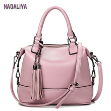NADALIYA 2017 Women Pink Totes Bag High Quality Leather Women's Messenger Shoulder Bags Tassel Handbags Fashion Lady Bag Women