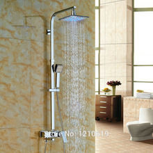 "Newly Color Changing LED Shower Set Faucet w/ Hand Shower Chrome 8"" Rain Shower Mixer Tub Faucet Wall Mount"
