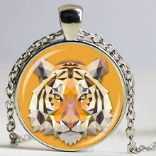 Wholesale Glass Dome cabochon pendant new fashion tiger pendant animal jewelry art tiger image glass cabochon necklace women