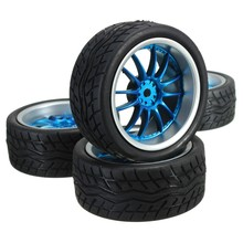4Pcs Rubber RC Flat Racing Tires Tyre Wheel 12-spoke Wheel Rim For 1:10 On-Road Intelligent Model Car