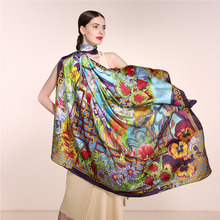 100% Silk Spring Floral Scarf Women, Infinity Square Shawl 135*135cm, Elegant Lady Soft Pure Silk Scarves, Digital Printed