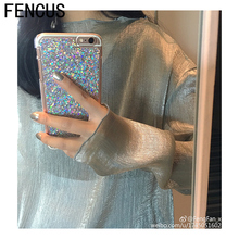 FENCUS For iPhone 6 6S Plus 7 7plus X soft Gel Light TPU+IMD Metal gloss back cover Bling Glitter Shimmering Original phone case(China)