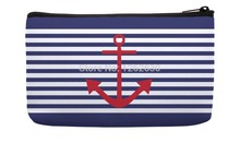 Vintage Navy Blue Stripe and Red Anchor Pattern Print Customized Small Cosmetic Bag Wristlet hand bag