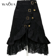 2017 Hot Women Steampunk Clothing Skirt Punk Gothic Retro Black/white Lace Skirt Party Club Wear Saia Femininas Plus Size S-XXL