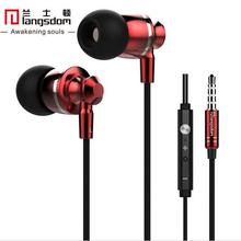 Original Langsdom M300 Metal Super Bass In-ear Earphones Volume Control with Mic Headphone for iphone Sony Xiaomi Mp3 PC 3.5mm