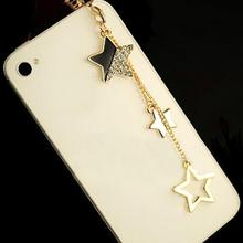 3.5mm Earphone Jack Dustproof Plug Star Design Tassels Pendant Dust Plug Headset Stopper Cap For iPhone Samsung Xiaomi(China)