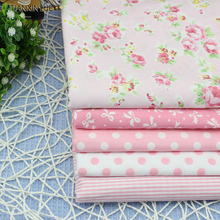 Flower Fabric DIY Patchwork Sewing Kids Bedding Cotton Fabric Talasite Dot and stripe Cloth 5 pcs 40*50cm HOME Textiles Fabric(China)