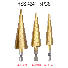 3Pcs/lot Professional HSS Steel Large Step Cone Hex Shank Coated Metal Drill Bit Cut Tool Set Hole Cutter 4-12/20/32mm Wholesale