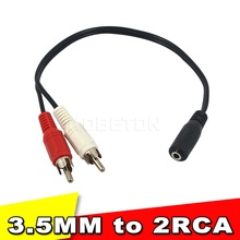 2015 Hot Sale Universal 3.5mm Stereo Audio Female Jack to 2 RCA Male Socket to Headphone 3.5 Y Adapter Cable