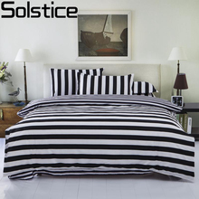 Solstice Home Textile Classic Black And White Fashion Striped Bedding Sets Queen Full Size Duvet Cover Bed Sheet 4 pcs Sets