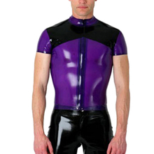 Free shipping Rubber latex fetish top ,latex shirt with front zip for men