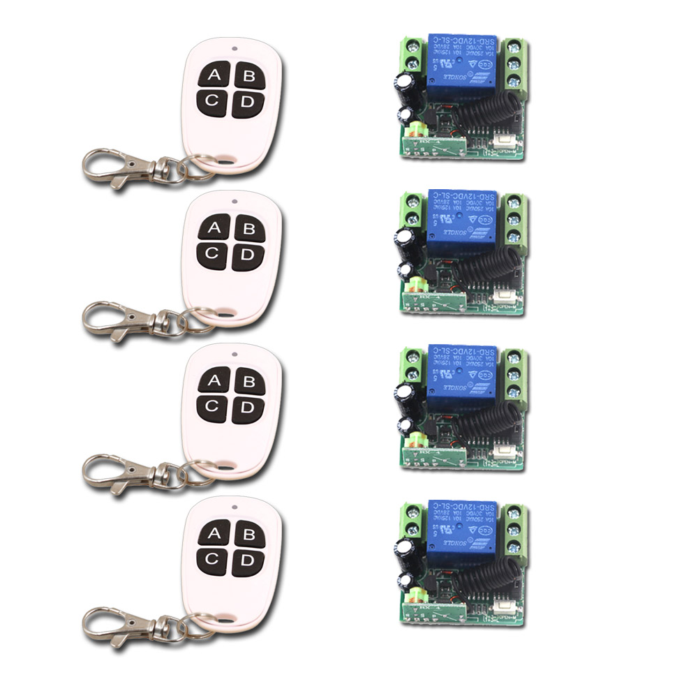 New DC12V 10A Mini 1CH RF Wireless Remote Control 4 Receiver +4 Transmitter 315/433 MHZ White-Black Remote Control with ABCD Key<br>