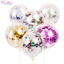 FENGRISE 10pc 12inch 30cm Clear Confetti Balloon Latex Confetti Ballon Wedding Decoration Happy Birthday Balloons Party Supplies(China)