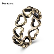 Dawapara One Piece Vintage Style Surround Love Heart Rings For Woman Antique Brass Minimalist Fashion Female Jewelry Ring