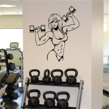 Female Muscles Wall Sticker Fitness Gym Sport Vinyl Sticker Home Wall Art Decor Ideas Interior Removable Design(China)