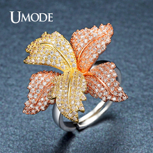 UMODE Brand Designer Two Colors Flower Cubic Zirconia Rings for Women Unique Party Jewelry Cocktail Rings Bague De Femme UR0394(China)