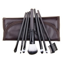 7pcs PU Leather Bag Make up Tools Eyeshadow Cosmetic Kit Foundation Brush Professional Makeup Brushes Set Wholesale(China)