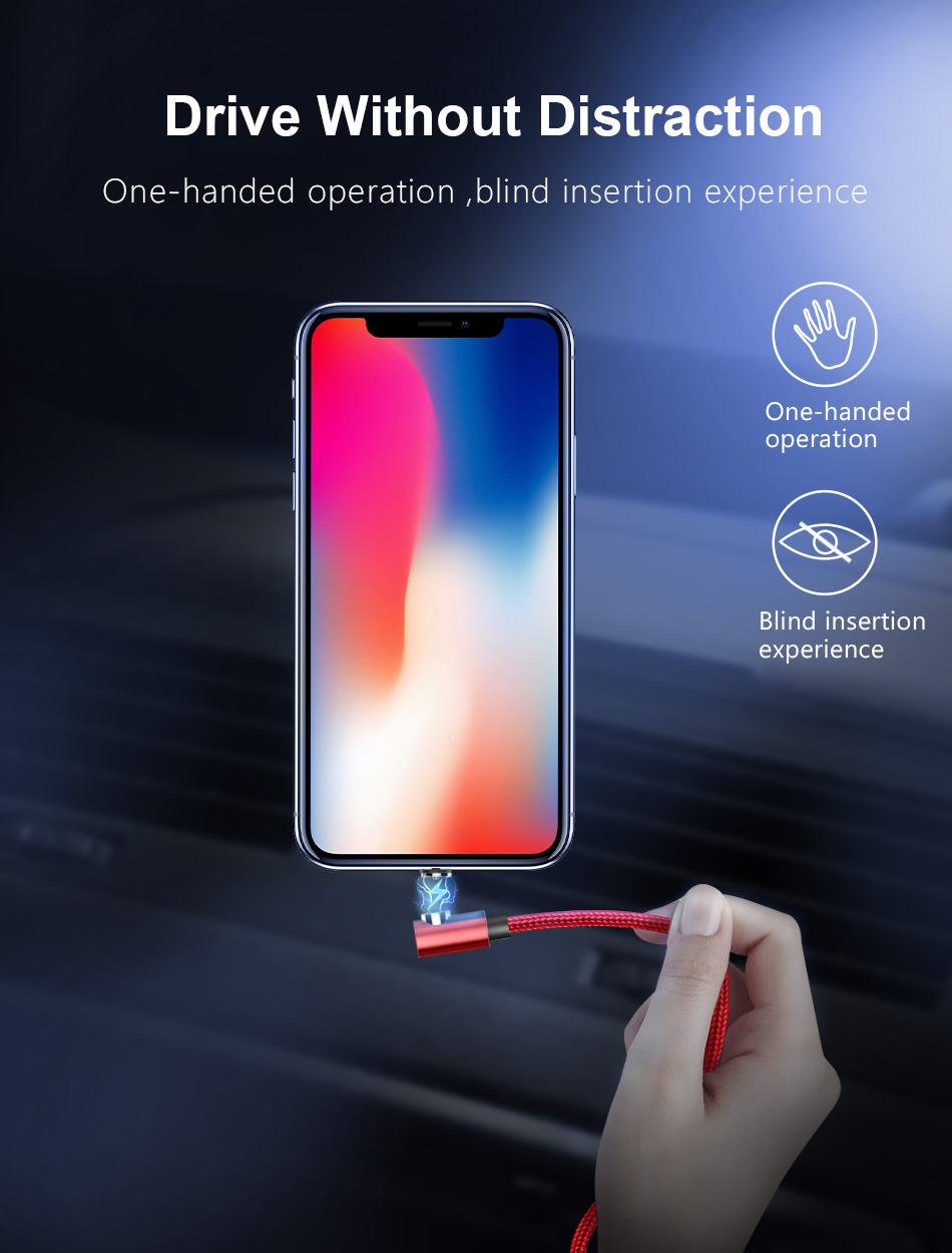 NOHON 90 Degree Magnetic Charging Cable For iPhone X XS MAX XR Micro USB Type C Fast Charger For Xiaomi Samsung S9 Magnet Cables (4)