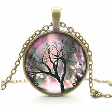 Fashion Women Necklace Bronze Silver Chain Life Tree Convex Glass Pendant Necklaces Trendy Ladies Jewellery Accessories