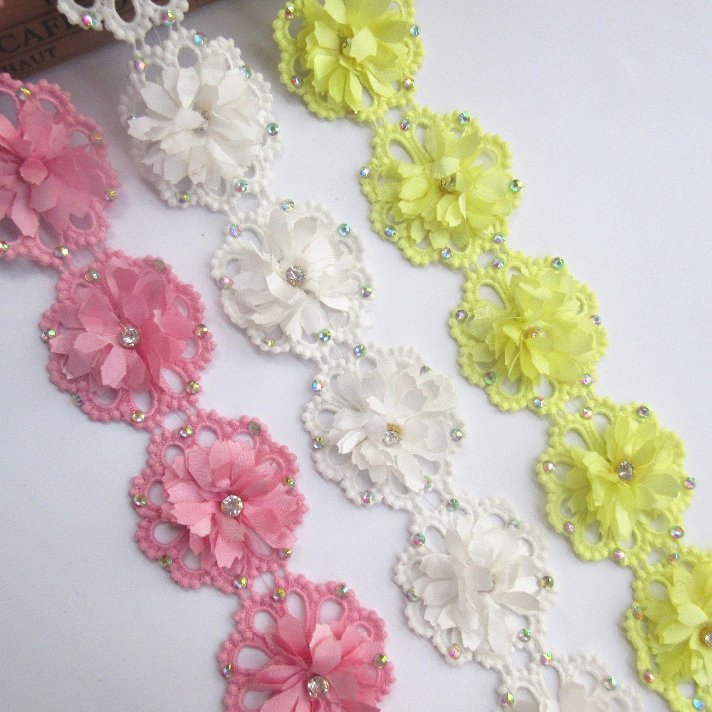 1y Flower Cotton Diamond Lace Edge Trim Ribbon Embroidered Applique Sewing Craft