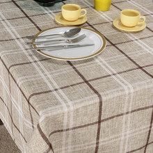 Cotton linen blending modern brief plaid table cloth fabric rectangle round square table cloth custom
